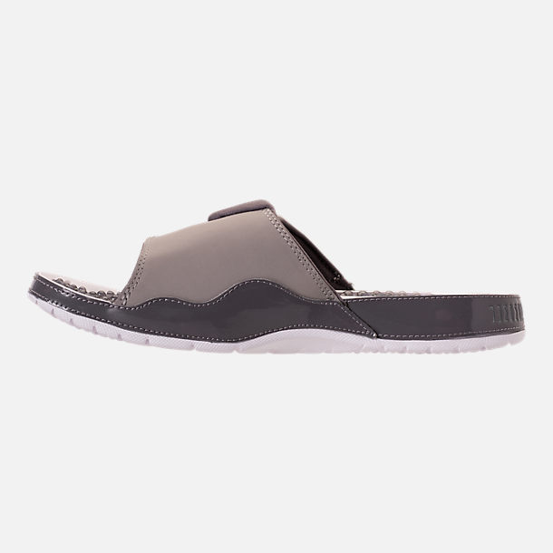Left view of Men's Jordan Hydro XI Retro Slide Sandals in Medium Grey/White/Gunsmoke