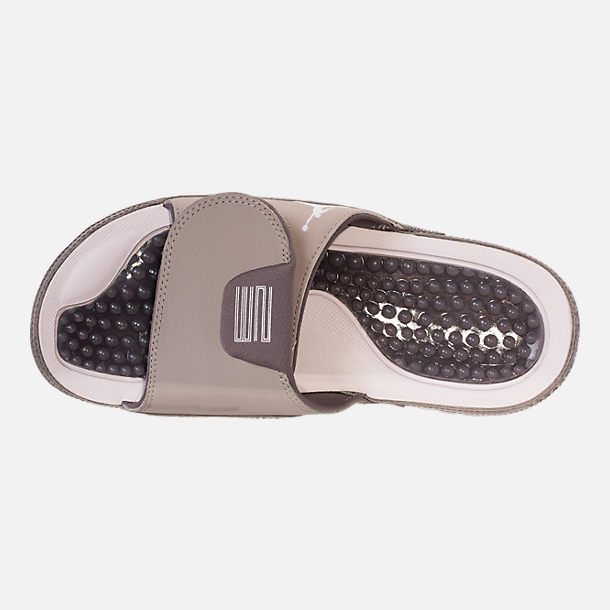 Top view of Mens Jordan Hydro XI Retro Slide Sandals in Medium GreyWhite