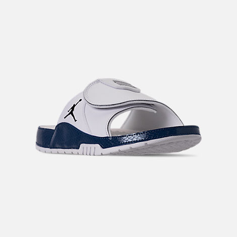 Three Quarter view of Men's Jordan Hydro XI Retro Slide Sandals in White/Black