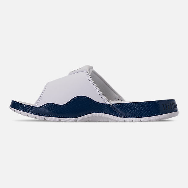 Left view of Men's Jordan Hydro XI Retro Slide Sandals in White/Black