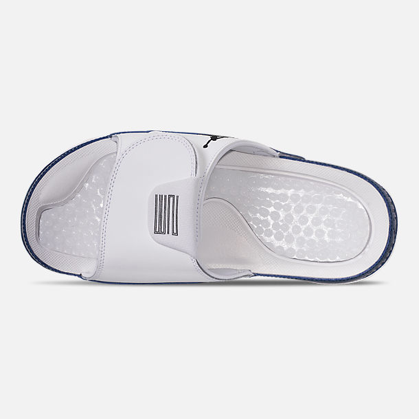 Top view of Men's Jordan Hydro XI Retro Slide Sandals in White/Black