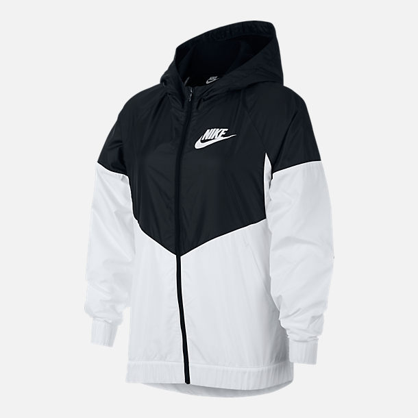 Front view of Girls' Nike Sportswear Windrunner Wind Jacket in Black/White