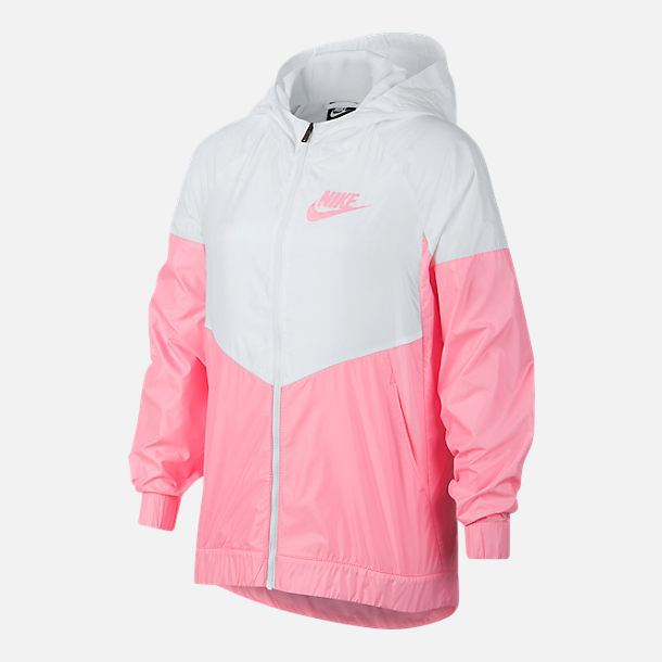 Front view of Girls' Nike Sportswear Windrunner Wind Jacket in White/Pink