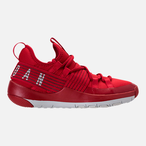 Right view of Boys' Grade School Air Jordan Trainer Pro Training Shoes in Gym Red/Pure Platinum/Pure Platinum