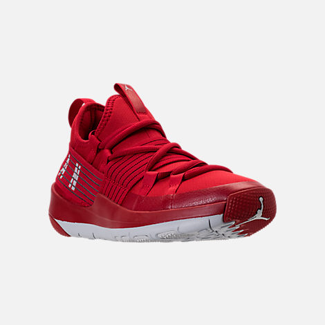 Three Quarter view of Boys' Grade School Air Jordan Trainer Pro Training Shoes in Gym Red/Pure Platinum/Pure Platinum