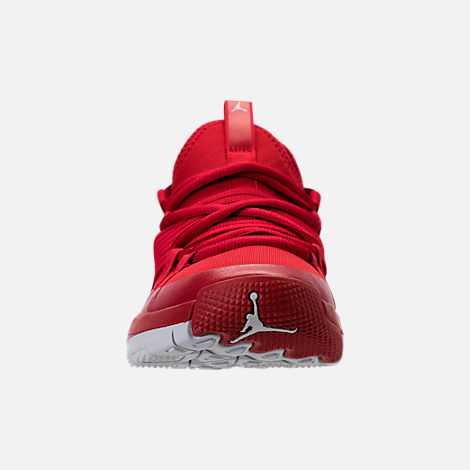 Front view of Boys' Grade School Air Jordan Trainer Pro Training Shoes in Gym Red/Pure Platinum/Pure Platinum