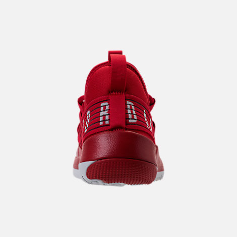 Back view of Boys' Grade School Air Jordan Trainer Pro Training Shoes in Gym Red/Pure Platinum/Pure Platinum