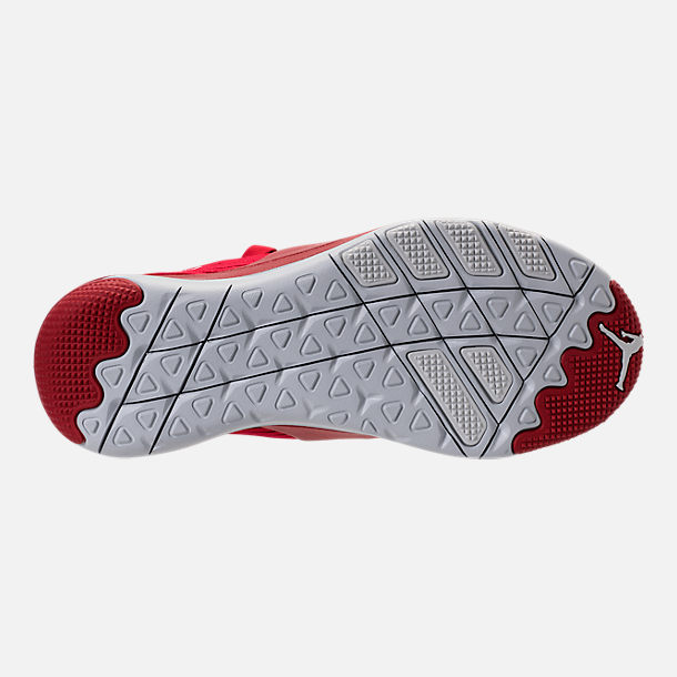 Bottom view of Boys' Grade School Air Jordan Trainer Pro Training Shoes in Gym Red/Pure Platinum/Pure Platinum