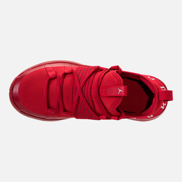 Top view of Boys' Grade School Air Jordan Trainer Pro Training Shoes in Gym Red/Pure Platinum/Pure Platinum