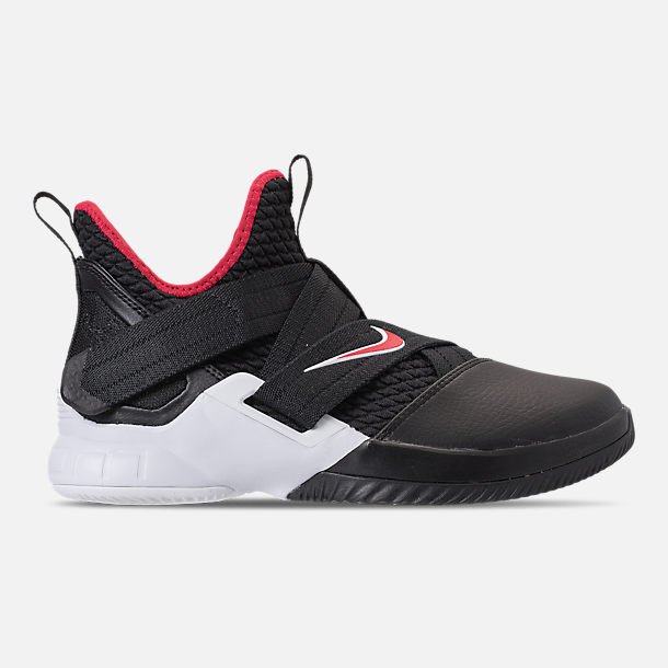 Right view of Boys' Big Kids' Nike LeBron Soldier 12 Basketball Shoes in Black/University Red/White
