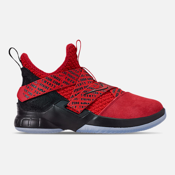 Right view of Boys' Big Kids' Nike LeBron Soldier 12 Basketball Shoes in Red/Black