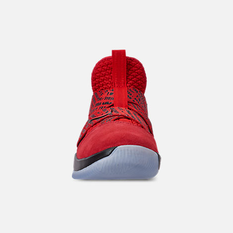 Front view of Boys' Big Kids' Nike LeBron Soldier 12 Basketball Shoes in Red/Black