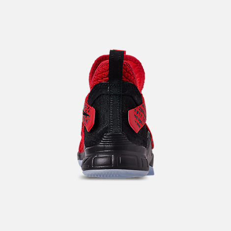 Back view of Boys' Big Kids' Nike LeBron Soldier 12 Basketball Shoes in Red/Black