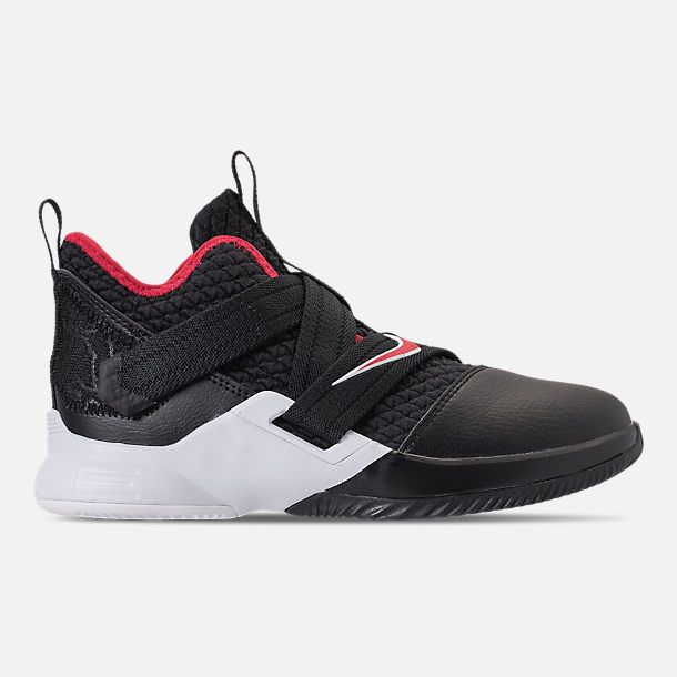 Right view of Boys' Preschool Nike LeBron Soldier 12 Basketball Shoes in Black/University Red/White