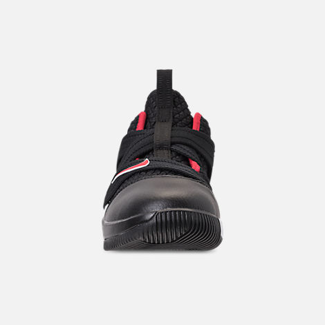 Front view of Boys' Preschool Nike LeBron Soldier 12 Basketball Shoes in Black/University Red/White