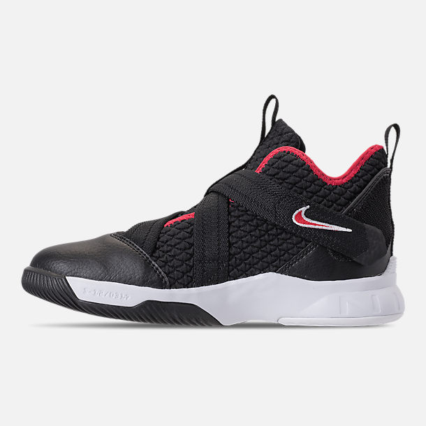Left view of Boys' Preschool Nike LeBron Soldier 12 Basketball Shoes in Black/University Red/White