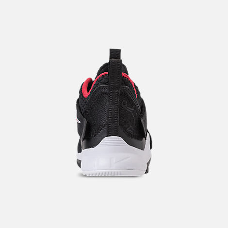 Back view of Boys' Preschool Nike LeBron Soldier 12 Basketball Shoes in Black/University Red/White