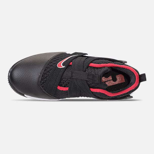 Top view of Boys' Preschool Nike LeBron Soldier 12 Basketball Shoes in Black/University Red/White