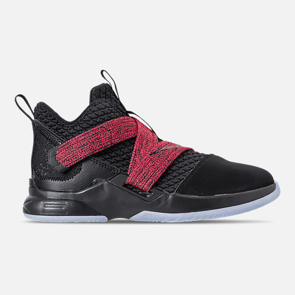 Right view of Boys' Little Kids' Nike LeBron Soldier 12 Basketball Shoes in Black/Black