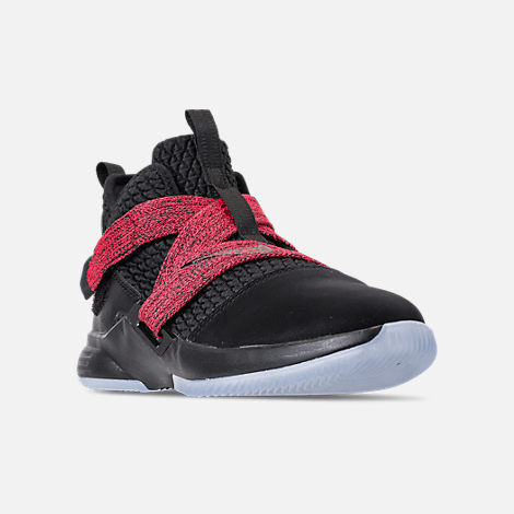Three Quarter view of Boys' Little Kids' Nike LeBron Soldier 12 Basketball Shoes in Black/Black