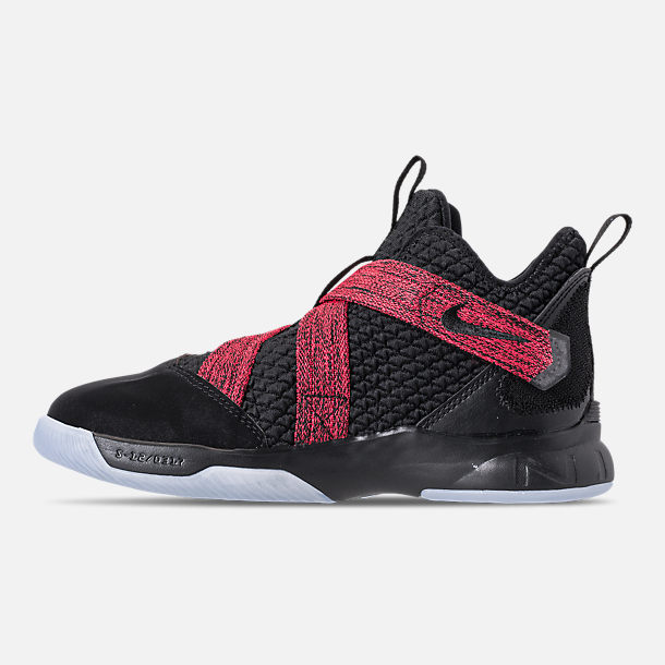 Left view of Boys' Little Kids' Nike LeBron Soldier 12 Basketball Shoes in Black/Black