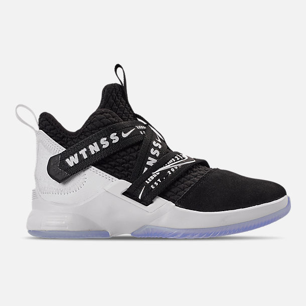 Right view of Boys' Little Kids' Nike LeBron Soldier 12 Basketball Shoes in Black/White