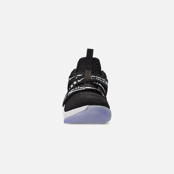 Front view of Boys' Little Kids' Nike LeBron Soldier 12 Basketball Shoes in Black/White
