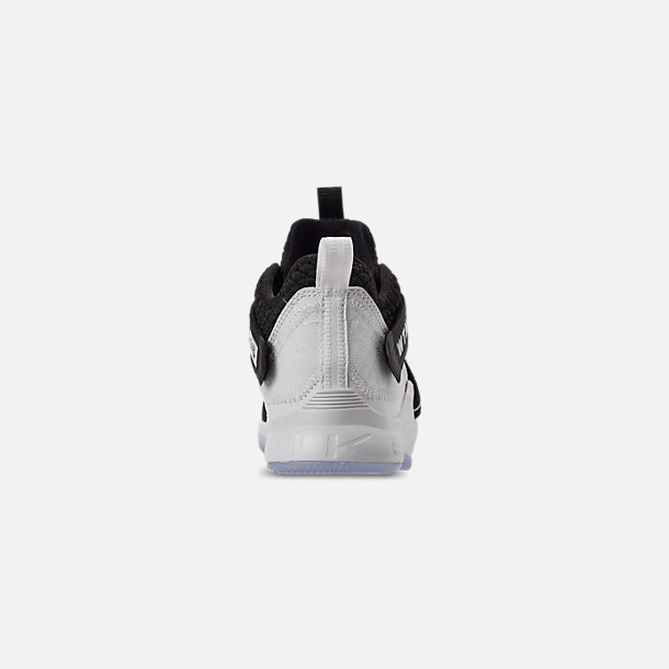 Back view of Boys' Little Kids' Nike LeBron Soldier 12 Basketball Shoes in Black/White