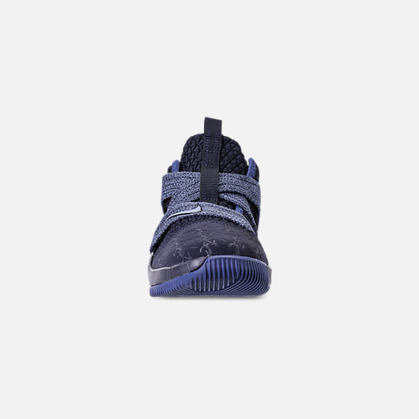 Front view of Boys' Little Kids' Nike LeBron Soldier 12 Basketball Shoes in Blackened Blue/Work Blue/Gym Blue