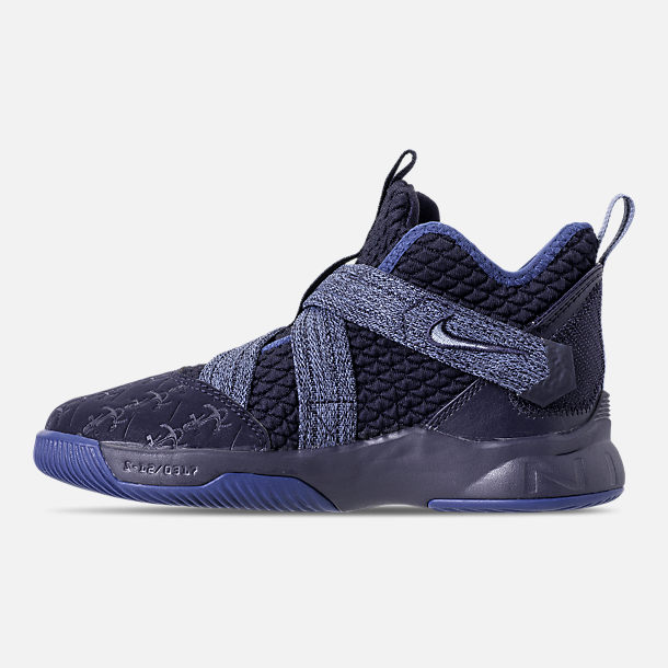Left view of Boys' Little Kids' Nike LeBron Soldier 12 Basketball Shoes in Blackened Blue/Work Blue/Gym Blue