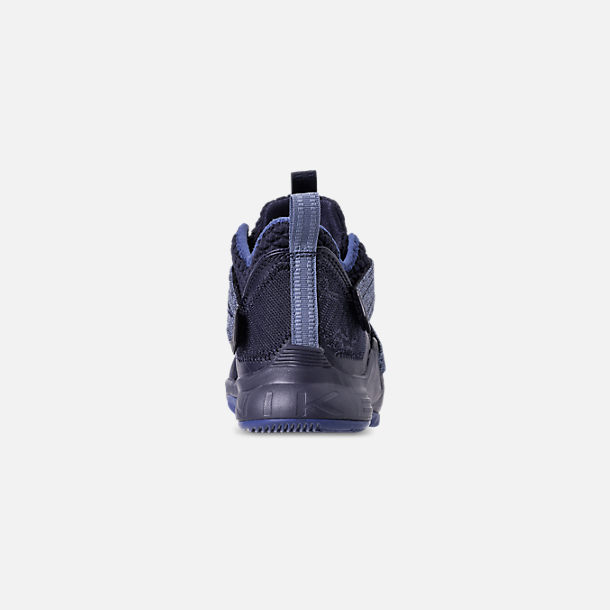 Back view of Boys' Little Kids' Nike LeBron Soldier 12 Basketball Shoes in Blackened Blue/Work Blue/Gym Blue