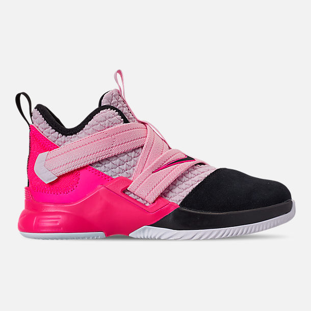 separation shoes cf715 df428 Right view of Boys  Little Kids  Nike LeBron Soldier 12 Basketball Shoes in  Pink