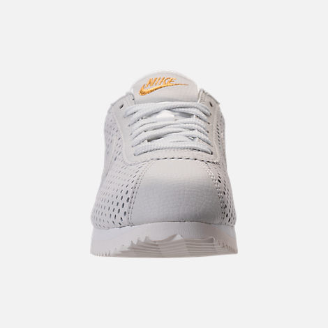 Front view of Women's Nike Cortez Classic SE Premium Casual Shoes in Summit White/White Metallic