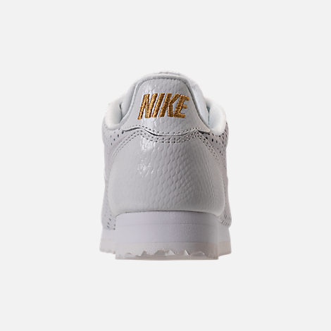 Back view of Women's Nike Cortez Classic SE Premium Casual Shoes in Summit White/White Metallic