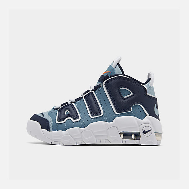 Right view of Boys' Little Kids' Nike Air More Uptempo '96 Basketball Shoes in Ocean Fog/Blackened Blue/Total Orange