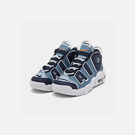 Three Quarter view of Boys' Little Kids' Nike Air More Uptempo '96 Basketball Shoes in Ocean Fog/Blackened Blue/Total Orange