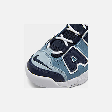 Front view of Boys' Little Kids' Nike Air More Uptempo '96 Basketball Shoes in Ocean Fog/Blackened Blue/Total Orange