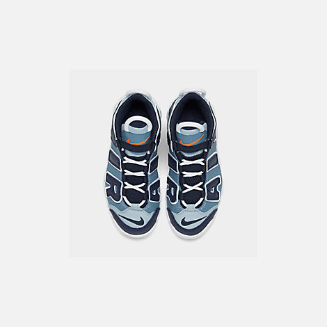 Back view of Boys' Little Kids' Nike Air More Uptempo '96 Basketball Shoes in Ocean Fog/Blackened Blue/Total Orange
