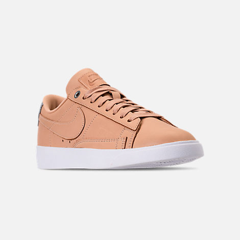 Three Quarter view of Women's Nike Blazer Low SE Premium Casual Shoes in Bio Beige/White/Metallic Silver