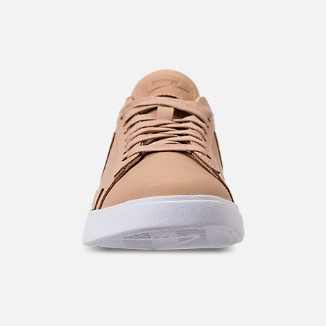 Front view of Women's Nike Blazer Low SE Premium Casual Shoes in Bio Beige/White/Metallic Silver