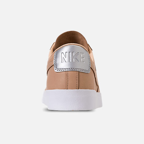 Back view of Women's Nike Blazer Low SE Premium Casual Shoes in Bio Beige/White/Metallic Silver