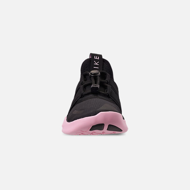 Front view of Women's Nike Free RN Commuter 2018 Running Shoes in Black/Black/Pink Foam