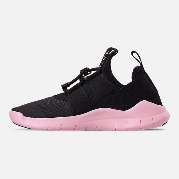 Left view of Women's Nike Free RN Commuter 2018 Running Shoes in Black/Black/Pink Foam