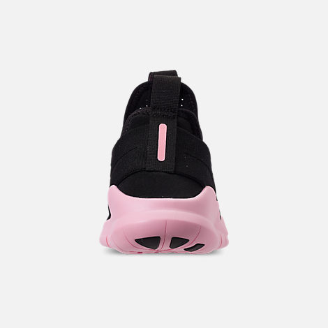 Back view of Women's Nike Free RN Commuter 2018 Running Shoes in Black/Black/Pink Foam