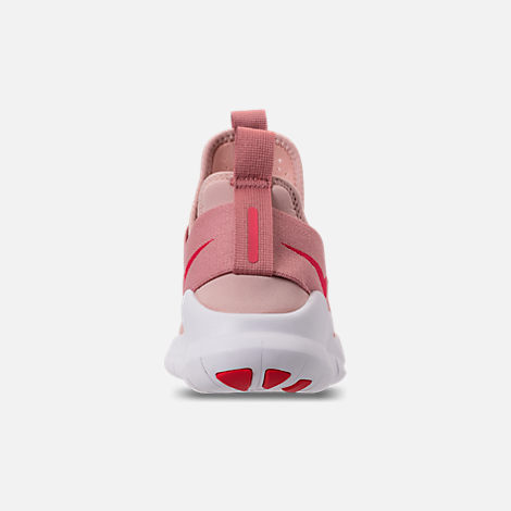 Back view of Women's Nike Free RN Commuter 2018 Running Shoes in Particle Beige/Tropical Pink/Rust