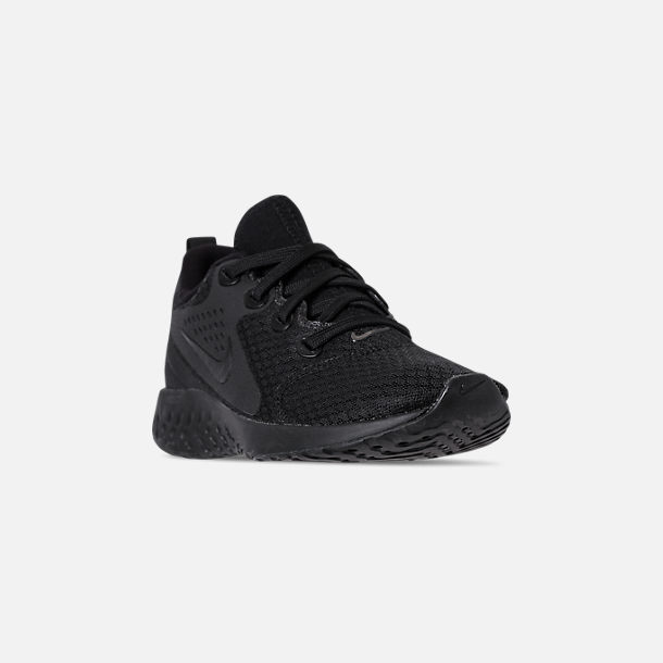 Three Quarter view of Women's Nike Legend React Running Shoes in Black/Black