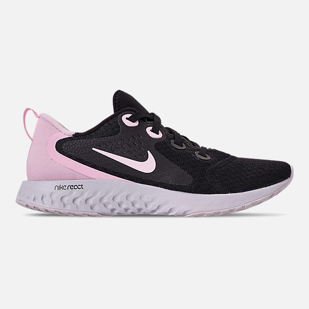 Right view of Women's Nike Legend React Running Shoes in Black/Pink Foam/Vast Grey
