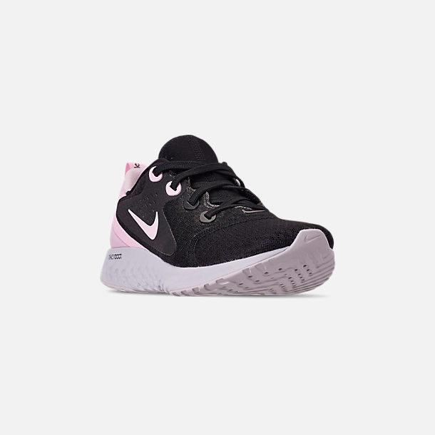 Three Quarter view of Women's Nike Legend React Running Shoes in Black/Pink Foam/Vast Grey