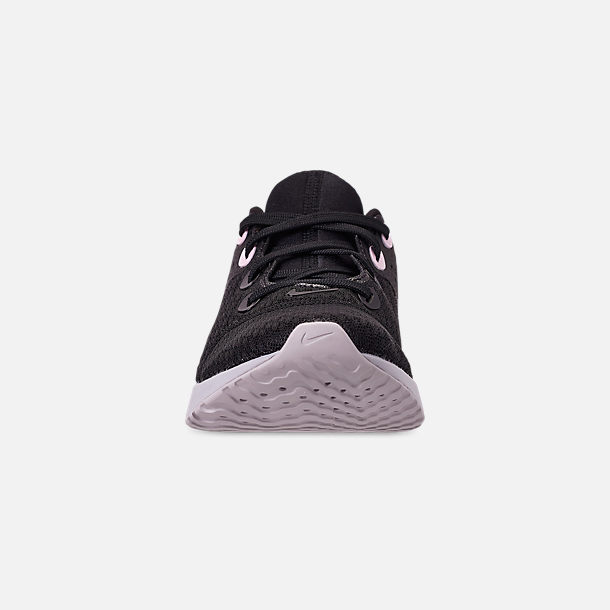 Front view of Women's Nike Legend React Running Shoes in Black/Pink Foam/Vast Grey