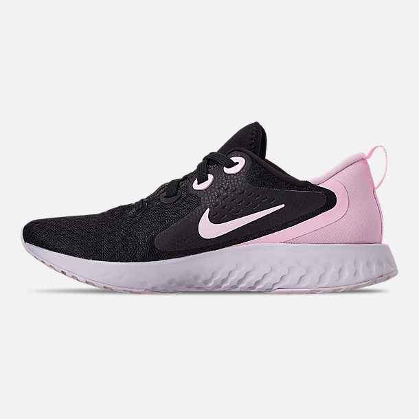 Left view of Women's Nike Legend React Running Shoes in Black/Pink Foam/Vast Grey